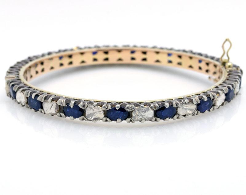 Outstanding Modern Sapphire And Diamond Bangle Bracelet - Item # B5133 - Reliable Gold Ltd.