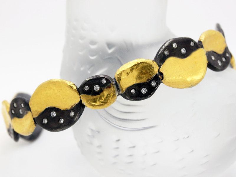 Stylish Contemporary Bangle Bracelet With Diamonds - Item # B5252J - Reliable Gold Ltd.