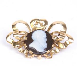 Victorian Black Onyx Cameo Pin - Item # P2277 - Reliable Gold Ltd.