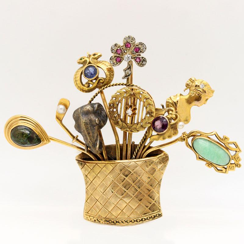 Antique Basket Of Stick Pins Brooch - Item # P2556A - Reliable Gold Ltd.