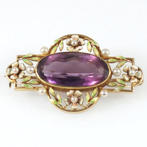 Amethyst, Pearl & Enamel Treasure - Item # P2682A - Reliable Gold Ltd.