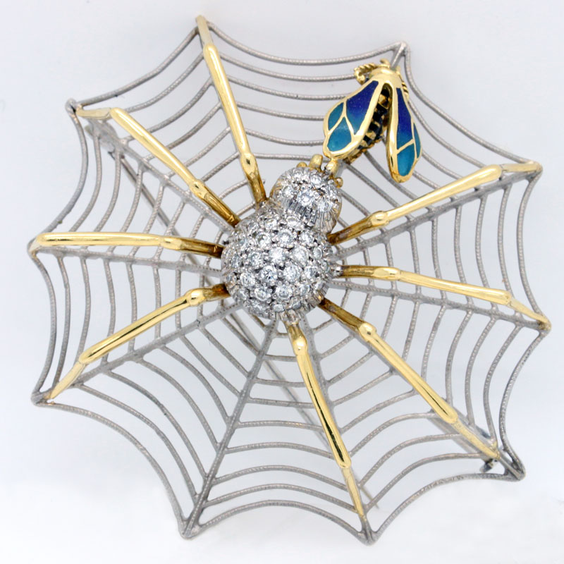Spider In Web Catching Fly Pin - Item # P2989 - Reliable Gold Ltd.