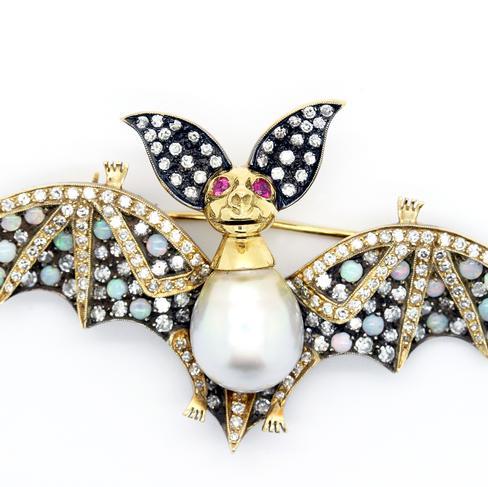 Jewel Encrusted Bat Woman Pin - Item # P2990 - Reliable Gold Ltd.