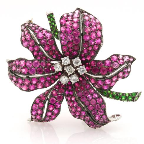 Pink Sapphire And Diamond Flower Pin - Item # P3021 - Reliable Gold Ltd.