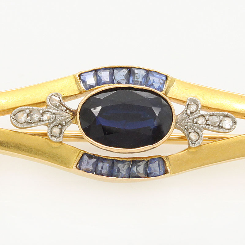 Sapphire And Diamond Estate Bar Pin - Item # P3104 - Reliable Gold Ltd.
