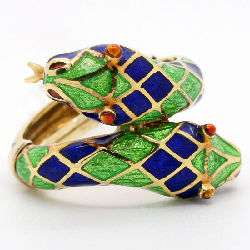 Estate Enamel Double Snake Ring - Item # R2713A - Reliable Gold Ltd.