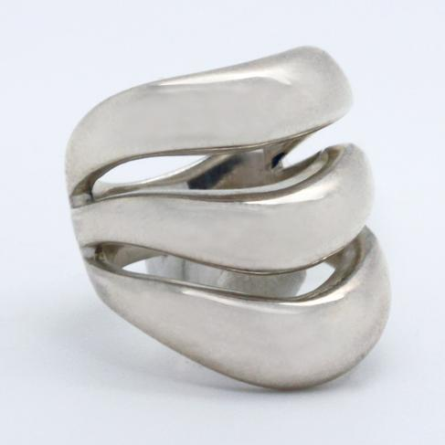 Modern Three-Band Sterling Silver Ring - Item # R6147 - Reliable Gold Ltd.