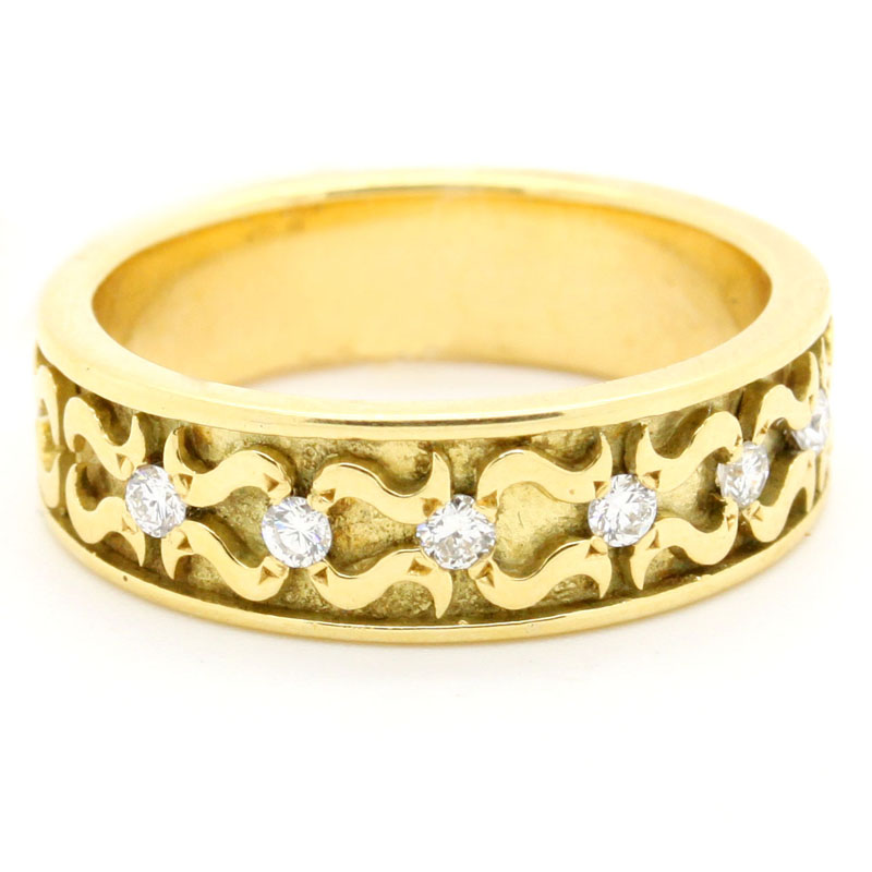 Handsome Textured Yellow Gold Band With Diamonds - Item # R6277 - Reliable Gold Ltd.