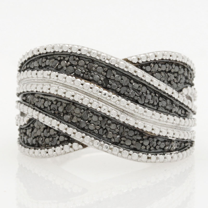 Black Diamond In Sterling Silver Wide Ring Band - Item # R6299 - Reliable Gold Ltd.