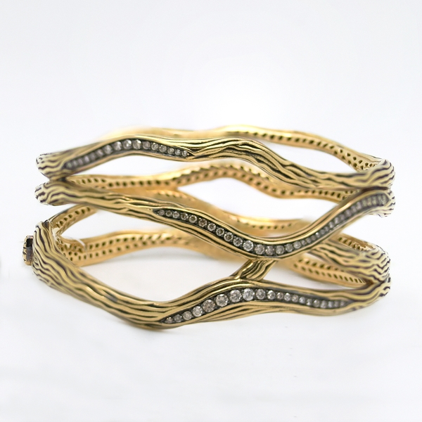 Antonini Hinged Bangle Bracelet With Brown Diamonds - Item # B0190 - Reliable Gold Ltd.