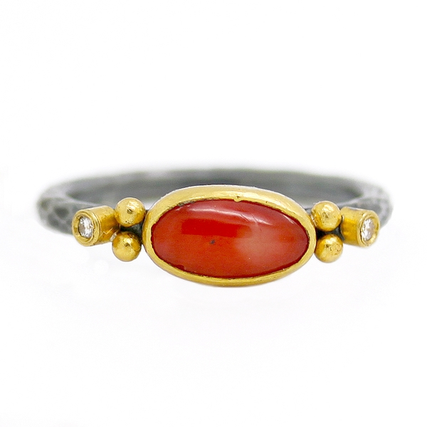 Coral & Diamond Ring - Item # R0329 - Reliable Gold Ltd.