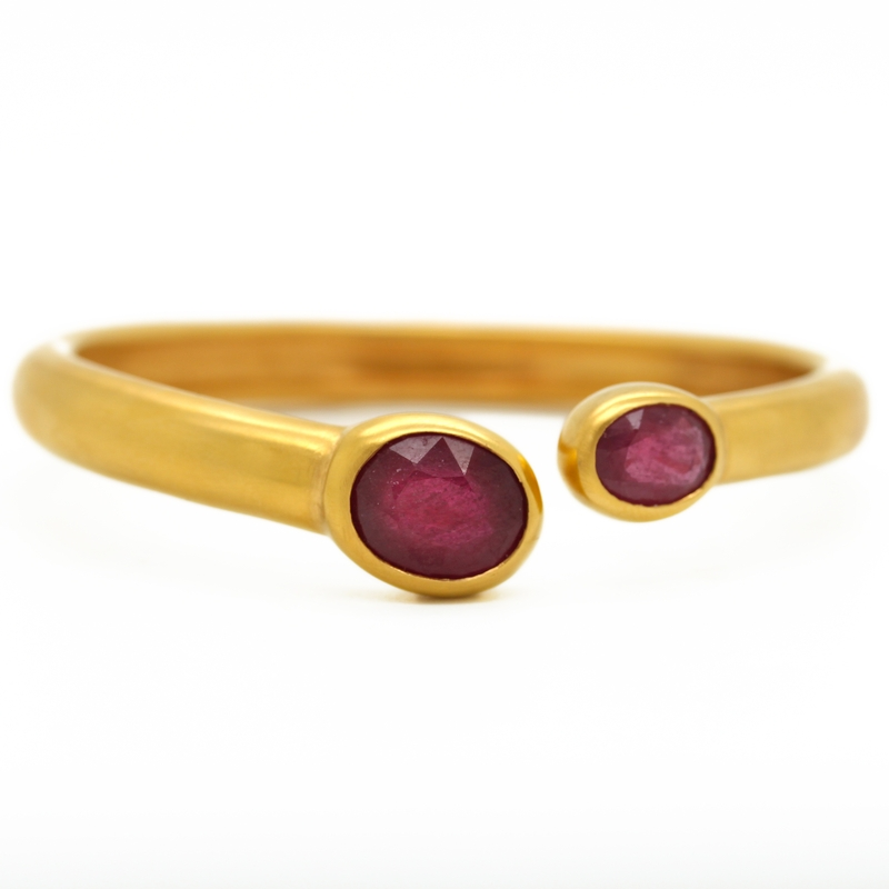 Italian Ruby Bypass Cuff In Yellow Gold-Plated Silver - Item # B0016 - Reliable Gold Ltd.