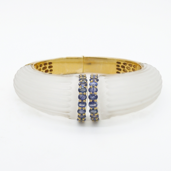 Crystal And Sapphire Hinged Cuff Bracelet - Item # HM0115 - Reliable Gold Ltd.