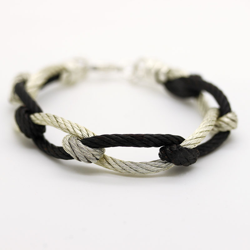 Silver & Oxidized 18K White Gold Plated Over Copper Rope Bracelet - Item # B0030 - Reliable Gold Ltd.