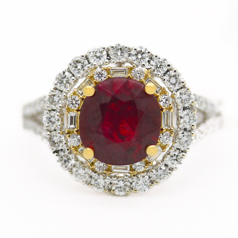 Ruby Surrounded By Diamonds Ring - Item # R0014 - Reliable Gold Ltd.