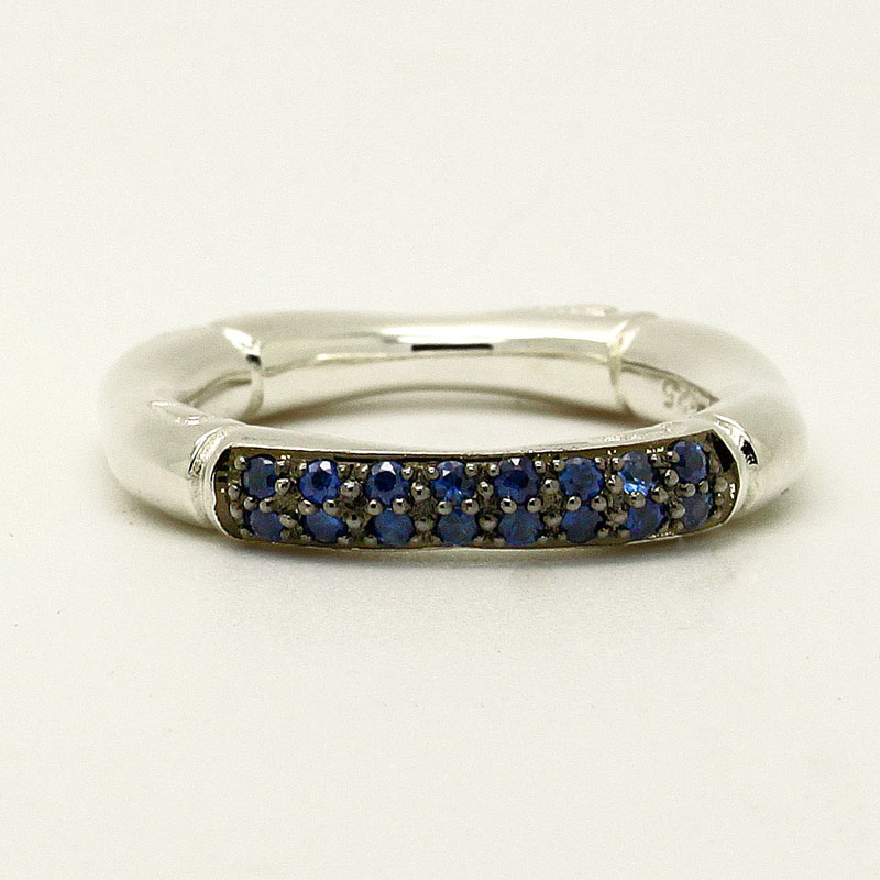 Sterling Silver Bamboo Theme Ring With Sapphires - Item # R0029 - Reliable Gold Ltd.